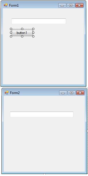 tampilan awal untuk form1 dan form2