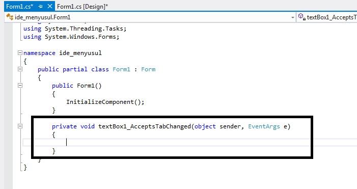Belajar C# AcceptsTabChanged